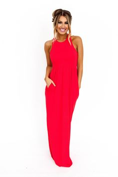 Solid Racer Back Maxi Dress- Red - Dottie Couture Boutique