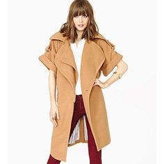 Camel Three-Layer Lapel Short Sleeve Coat 15CT00018 ($49) ❤ liked on Polyvore featuring outerwear, coats, camel, beige coat, camel coat, short sleeve coat and lapel coat