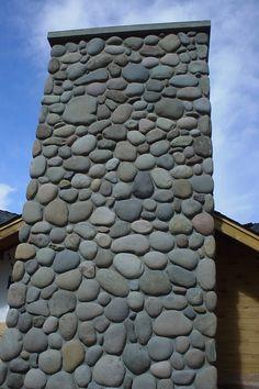 Exterior Chimneys & Fireplaces Home Projects - Empire Stone Company River Rock Decor, Rock Veneer, Rock Siding, River Rock Fireplaces, Manufactured Stone Veneer, Sandstone Wall, Craftsman Decor, Stone Cladding, Exterior Siding