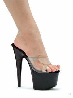 Ellie Shoes Ellie Shoes E 709 Vanity 7 Pointed Stiletto Mule Clear Outlet Shop