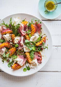 Char-Grilled Peach, Prosciutto, Buffalo Mozzarella & Basil Salad