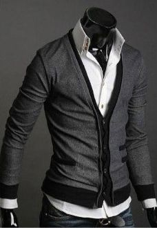 Korean fashion : Men's 2-Tone Cardigan Gray