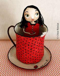 Demoiselle dans sa tasse Thé Coccinelle par chloeremiat sur Etsy