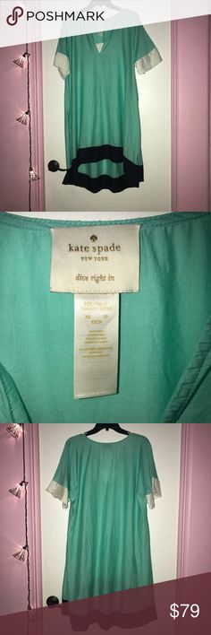 "Kate Spade ""Dive Right In"" Cover Up This is a Kate Spade ""Dive Right In"" cover up dress. Worn once on vacation. Very pretty 😍 with the turquoise and navy coloring!! Size is XS and would fit a small as well as I am a small/medium and it fits me. kate spade Swim Coverups"