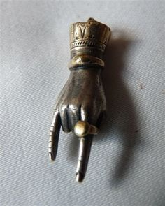 Victorian Sterling & Gold Detailed Hand Charm