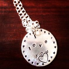 I love you hand stamped necklace  Www.facebook.com/lastingimpressionshandstampedjEwelry Lastingimpressionsjewelryct@gmail.com #lastingimpressions #handstampedjewelry