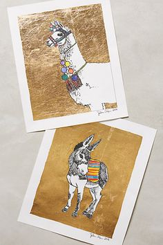 Gilded Llama Print by artist Sullivan Elaine Anlyan - $68 - anthropologie.com