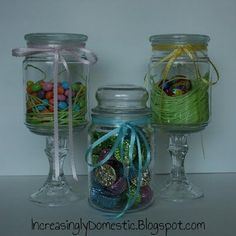 Candle jar turned candy jar. WHY have I not been saving my candle jars?!?