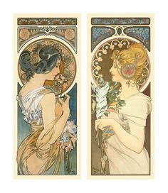 ❤ - Alphonse Mucha |  Série de deux, La Primevère et La Plume - 1899.