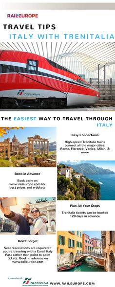 Trenitalia makes it easy and comfortable to travel through ! Ways To Travel, New Travel, Train Travel, Solo Travel, Travel Tips, Places Around The World, Around The Worlds, Culture Of Italy, Italy Train
