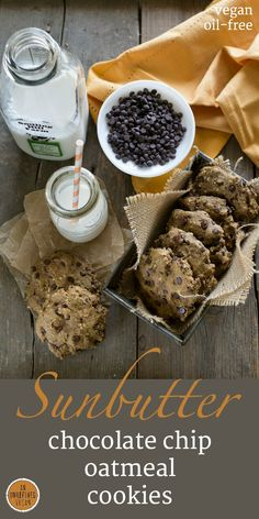 Plant-based, oil-free and low in sugar - Sunbutter Chocolate Chip Oatmeal Cookies from An Unrefined Vegan.