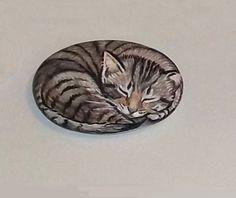Original Hand Painted Sleeping Gray Brown Tabby Cat Rock Art Stone Pet Folk | eBay