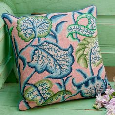 Crewel Leaves - Ehrman Tapestry, Kaffe Fassett's love of Elizabethan embrodery is given a contemporary twist.