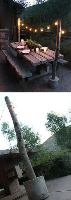 Check out the tutorial on how to make easy DIY outdoor string light poles @istandarddesign