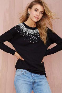 Nasty Gal So Scattered Beaded Sweatshirt - Sweatshirts