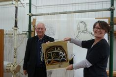 Basil Beattie attending the cutting-off of his tapestry, woven by Katharine…