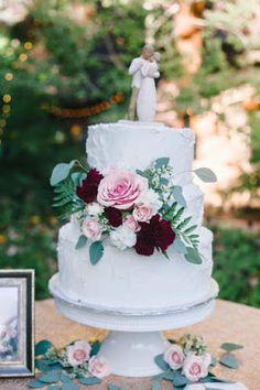 Wedding cake pink rose burgundy carnations aspen leaves Pansy Perfect!