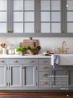 Gray cabinets + white subway tiles + brass hardware