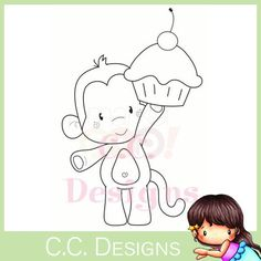"""Paper Embroidery Patterns C. Designs Animal Crackers """"Birthday Monkey"""" Rubber Stamp - C. Applique Templates, Applique Patterns, Applique Designs, Embroidery Designs, Barrel Of Monkeys, Pretty Drawings, Cute Coloring Pages, Cute Clipart, Paper Embroidery"""