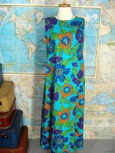 $44.95 vintage 70s Blue Psychedelic Mod Floral Hawaiian Barkcloth Maxi Dress Gown M L by wardrobetheglobe on ebay