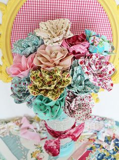 fabric roses- I like the idea of fabric flowers for a wedding so the bride can keep them forever as a keepsake! Cloth Flowers, Diy Flowers, Fabric Flowers, Paper Flowers, Ribbon Flower, Pretty Flowers, Ribbon Hair, Fabric Ribbon, Real Flowers
