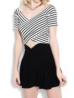 Black & White Stripes Cross Front Crop Tee with Short Black Skirt