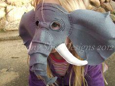 Elephant Mask Pattern.  One size fits most.  FREE POSTAGE.. $4.00, via Etsy.