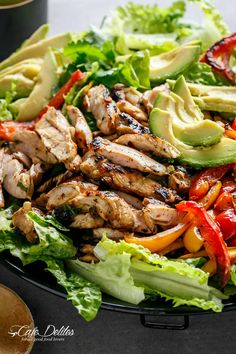 Chili Lime Chicken Fajita Salad IMAGES | cafedelites.com