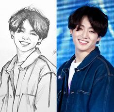 Kpop Drawings, Pencil Art Drawings, Art Drawings Sketches, Realistic Drawings, Fanart Bts, Jungkook Fanart, Bts Jungkook, Lineart Anime, Bts Chibi
