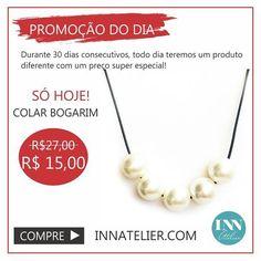 PROMOÇÃO DO DIA!!! Colar super estiloso de couro com pérolas!  site: www.innatelier.com  #innatelier #ecommerce #lojaonline  #moda #acessorios #bijuterias #colar #brinco by innatelier