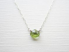 Tiny Peridot Heart Briolette Sterling Silver Necklace - Simple Gemstone Necklace - August Birthstone