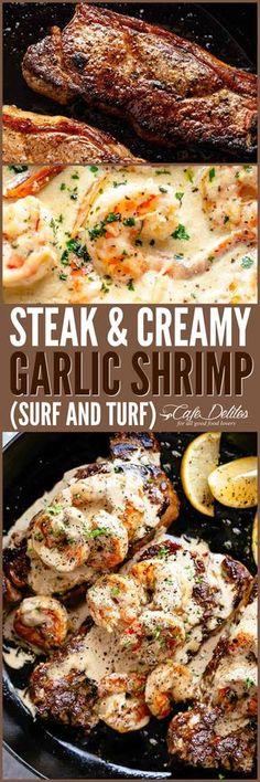 Steak & Creamy Garlic Shrimp (Surf and Turf) Steak & Creamy Garlic Shrimp (Surf & Turf) – Cafe Delites Healthy Diet Recipes, Meat Recipes, Seafood Recipes, Cooking Recipes, Garlic Recipes, Cooking Tips, Healthy Food, I Love Food, Gourmet