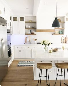 Dark, light, oak, maple, cherry cabinetry and can you restain wood kitchen cabinets. CHECK PIN for Lots of Wood Kitchen Cabinets. White Wood Kitchens, White Kitchen Decor, Modern Farmhouse Kitchens, New Kitchen, Cool Kitchens, Kitchen Dining, Kitchen Wood, Kitchen Backsplash, Kitchen Cabinets