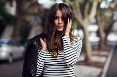striped dress, leather jacket & super reflective sunglasses