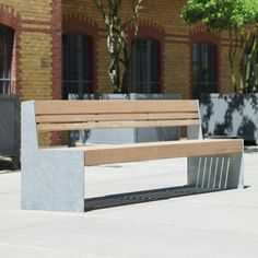Versio Genus Seat. A simple modern design which  comes with three different timber slat configurations, which make it an adaptable seating solution for any outdoor public space. Length:1200mm, 2000mm, 2400mm, 2800mm. Width:610mm. Height:880mm.