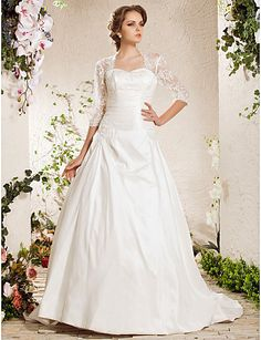 Ball Gown Sweetheart Natural Court Train Half Sleeve Zipper Satin Illusion Garden/Outdoor Wedding Dress #169330(More color option)