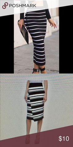 NWT! Jennifer Lopez Skirt Black and white stripe skirt. The first picture is only inspiration. The second picture is the actual skirt. This skirt brand new WITH TAGS! Jennifer Lopez Skirts Midi