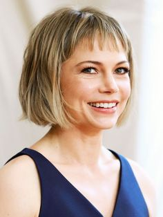 Short hairstyles: Michelle Williams has opted for a bob hairstyle with a shorter fringe.