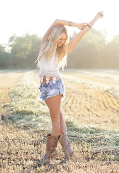 Country girl outfit; crochet top, cut-off denim shorts, cowgirl boots.  perfect