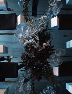 Sydney's iconic harbour inspired an oceanic wonderland for the launch of Omega's Deep Black timepiece. Omega Planet Ocean, Christmas Wreaths, Christmas Tree, Tablescapes, Floral Design, Table Settings, Product Launch, Florists