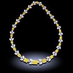 Fancy yellow & white diamond necklace. Diamonds weigh 83.41 carats