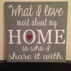 20x20 Canvas. 'What I Love Most About My Home, Is Who I Share It With' Personalized Colors. Wall Decor. Gift. on Etsy, $55.00