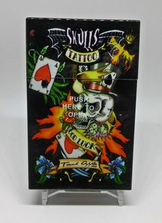 "Fujima Tattoo ""Good Luck"" Plastic Push-To-Open King Size Cigarette Case #Fujima"