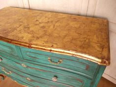 TURQUOISE CHEST OF DRAWERS | Bohemian and Chic.  Beautiful chest of drawers using gold leaf on the top.