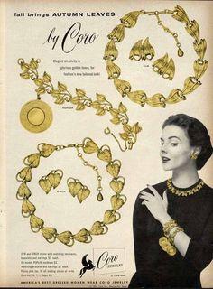 CORO Costume Jewelry Ad - 1955 - Autumn Leaves Design Shown #CoroJewelry