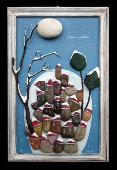 - paesaggi realizzati mediante assemblaggio di sassi dipinti e naturali su vecchie assi di legno e altri materiali di recupero - landscapes realized... Stone Crafts, Rock Crafts, Craft Stick Crafts, Diy Craft Projects, Arts And Crafts, Art Crafts, Stone Pictures Pebble Art, Stone Art, Rock Sculpture