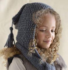 Modèle écharpe - capuche 2 en 1 - Modèles tricot enfant - Phildar // no idea what it says but it's cute! Can't find the pattern - shame! Bonnet Crochet, Knit Crochet, Crochet Hats, Knitting For Kids, Baby Knitting, Hooded Scarf, Beautiful Children, Baby Hats, Knitted Hats