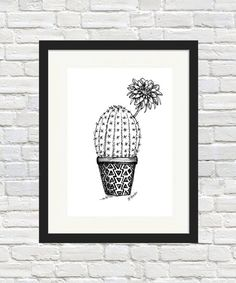 Cactus Flower Pot Sketch Print cactus print cactus wall art home decor gift idea cactus flower pot plant indoor plant Cactus Wall Art, Cactus Print, Cactus Decor, Cactus Flower, Flower Pots, Flower Tattoo Arm, Plant Art, Unique Wall Art, Paper Flowers Diy