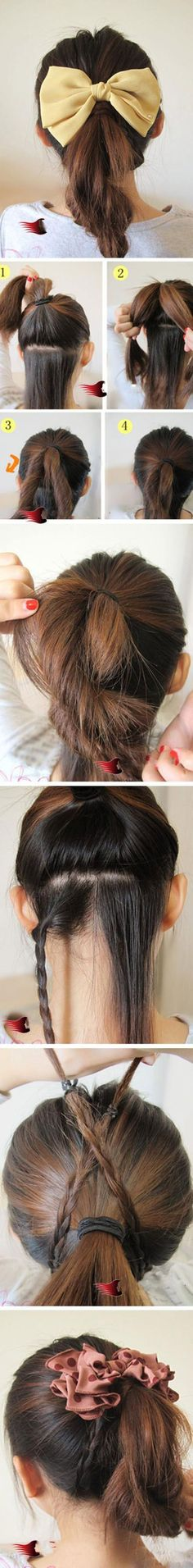 hairstyle with bow and braid