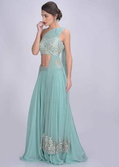 Mint Green Flared Palazzo And Blouse Set In Crepe With Mirror Abla Work Online - Kalki Fashion Indian Wedding Outfits, Indian Outfits, Indian Designer Outfits, Designer Dresses, Lehnga Dress, Lengha Choli, Indian Gowns, Lehenga Designs, Indian Fashion